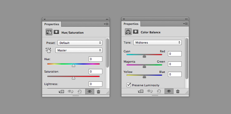 Hue/Saturation и Color Balance