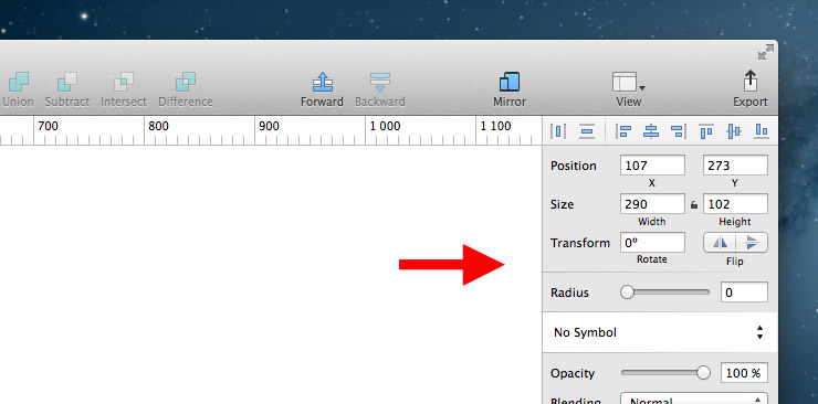 Панель форматирования в Sketch 3