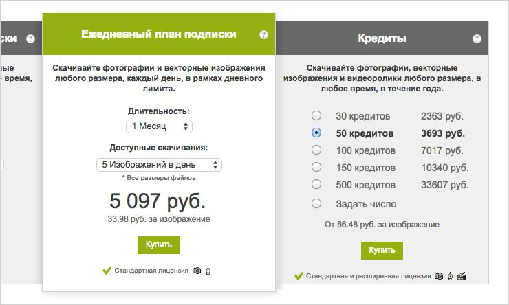 Выбор кредитов на Depositphoto